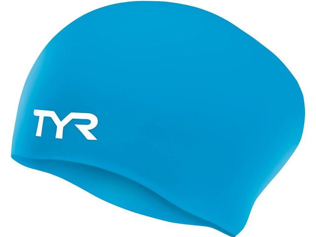 TYR Wrinkle-Free Long Hair Badehætte, blue